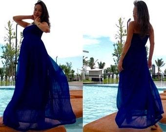 Midnight blue  chiffon long maxi dress fits All size