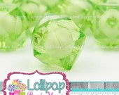 SALE 20mm Lime Green Ice CUBE Beads Chunky Beads Clear Transparent Bead in Bead Bubblegum Beads Acrylic Square Faceted Lucite Bubble Gum Bea