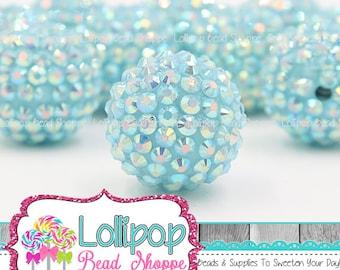 22mm Icy Blue AB Rhinestone Beads Ice Blue Aqua Sparkly Bumpy Bead Pave Chunky Beads Resin Berry Beads Plastic Bubblegum Beads Pkg 2, 4 or 6