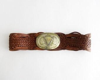 Vintage belt // boho leather woven belt