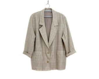 Vintage blazer // oversized lightweight spring jacket // plaid pastel loose fit blazer
