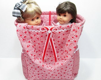 Quilted Carrier or Tote for Two 18 inch American Girl Dolls:  Red Hearts on White with Red Gingham