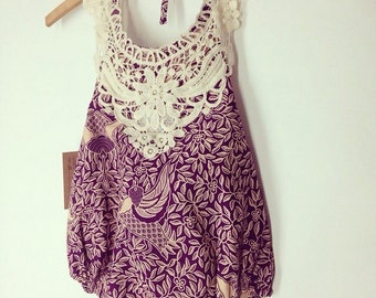 2T Lace collar Balinese cotton sun suit Ready to ship