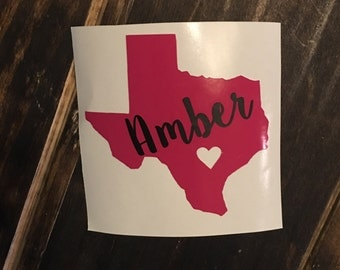 Texas Heart Decal Etsy - Custom car decals houston   how to personalize