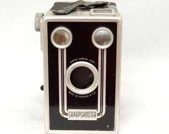 Vintage 1940s Sharpshooter Box Camera by Zenith Retro Decor Prop Art Deco Photography Gifts