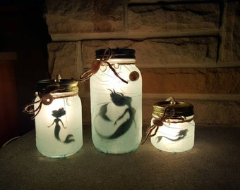 Beautiful Captured Mermaid Jar with Electric Lights. (Set of 3)