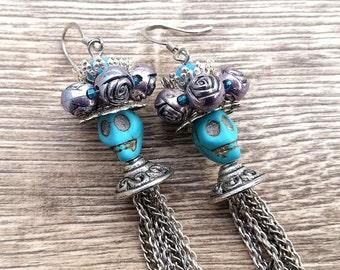 La Catrina Azteca- Crowned Skull Long Chain Earrings