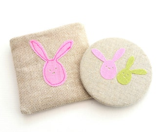 Bunny Pocket Mirror with Pouch // Easter Gift