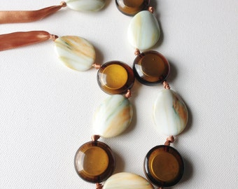 Necklace  - Long chunky glass and plastic necklace costume jewellery