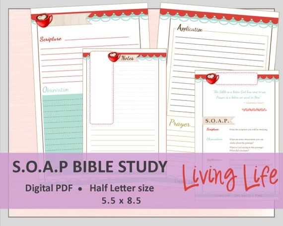 HALF LETTER S.O.A.P. Bible Study Printable Planner Journal