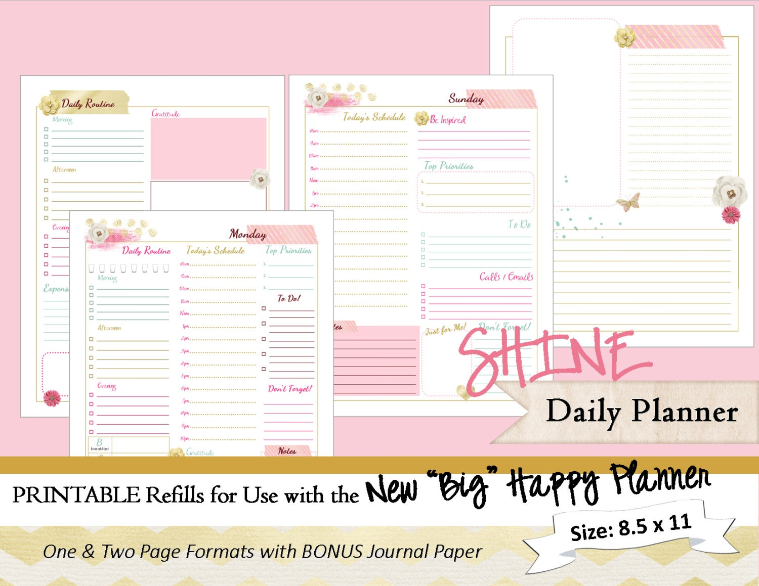 Planner Calendar Inserts : Big happy planner printable daily calendar inserts refills