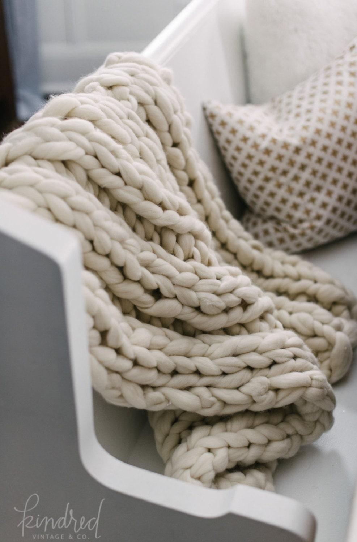Chunky Knit Blanket 32x54 Pure Merino Chunky Knit