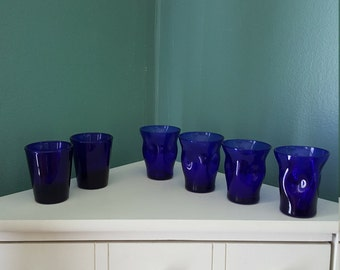 6 vintage dark cobalt blue shot glasses