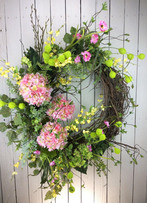 delux sping wreath large spring wreath front door wreath. Black Bedroom Furniture Sets. Home Design Ideas
