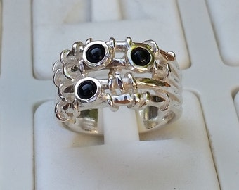 Onyx Silver Ring, Sterling Silver Ring, Multistone Ring, Natural Stones, Handmade Onyx Ring, Women Onyx Ring, Stackable Ring, Gemstones Ring