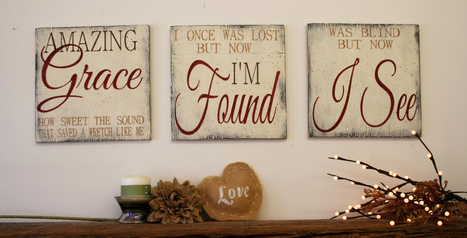 Amazing Grace Sign Wood Wallhanging Rustic Chic Decor