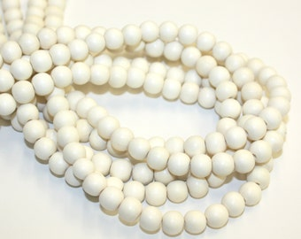 6mm Whitewood Natural Wood Beads 16 inch Strand, 70 Beads for Mala Necklaces