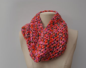 Chunky cowl, pink/orange/grey mix