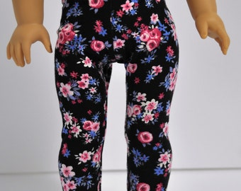 18 Inch Doll Clothes   Black Pink and Blue Floral  Leggings    Doll Clothes made to fit dolls such as American Girl