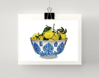 REPRODUCTION PRINT - Bowl of lemons in blue and white bowl - print of my original watercolour painting