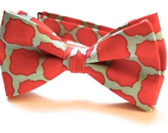 mens bow tie,coral and mint wedding bow tie for men,coral wedding bow tie,mint wedding bow tie,mens tie,coral bow tie for men,