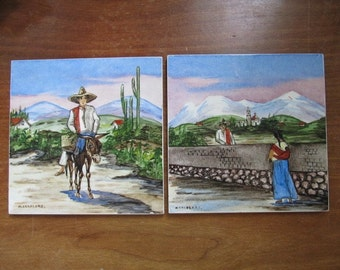 Four Vintage Ceramic Tiles by H & R Johnson, England, with Mexican Scenes by M. Cardenas