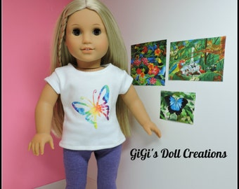 Tie Dye Single Butterfly Doll Shirt  fits 18 inch Doll American Girl Julie, Lea, Retro, Doll Clothes