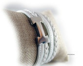 Wickelarmband geflochten Lederarmband Damen weiss Edelstahl silber -  Armband Damen  - Geschenk für sie beste Freundin Ehefrau Schwester
