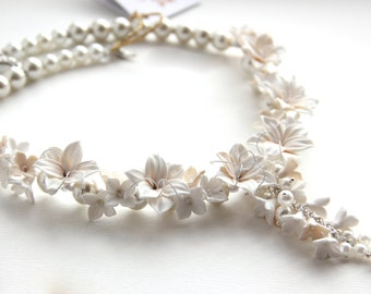 White Floral necklace wedding brides lily flowers lilac flowers necklace bridal romantic flowers from polymer clayls