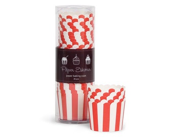 Red Striped Baking Cups  (25 Count)