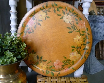 Handpainted round wood tray - floral design