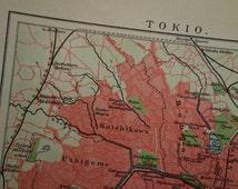 "TOKYO old map of Tokyo 1911 antique Dutch city plan Tokio Japan Japon Nippon  Tokio 東京の地図 横浜市 16x25c 6x10"""