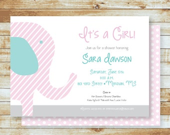 Baby Shower Invitation / Elephant / It's A Girl / Free Shipping