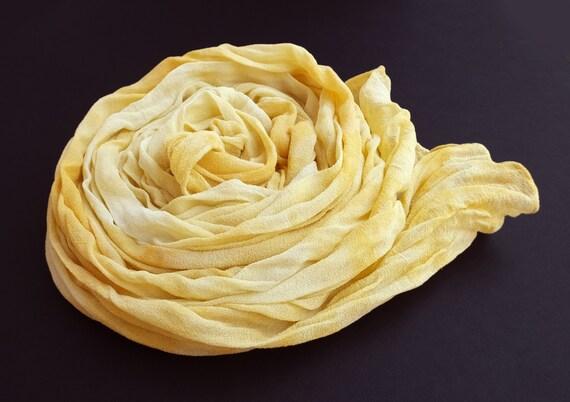 """Yellow scarf - silk chiffon scarf - crinkle scarf - fall scarf - large scarf - pale yellow, golden yellow, butter yellow - LARGE - 17"""" x 74"""""""