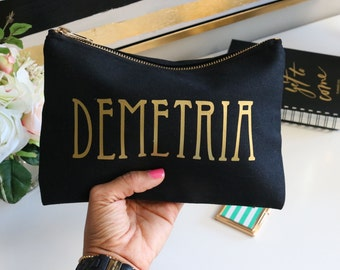 Personalized Cosmetic Makeup Bag Toiletry Travel Case Custom Monogram Name Bridesmaid Gift Make Up Bag for Best Friend