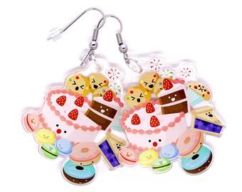 Cute Desserts Earrings, Kawaii earrings, desserts, japan, kawaii food, kawaii cake, cute anime, cute food, donuts, cookies, candy, pie