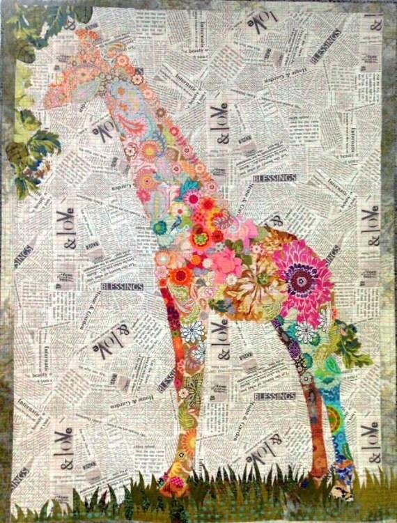 Fiberworks Laura Heine Collage Potpourri Giraffe On Newsprint