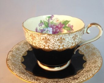Vintage Aynsley Black and Gold Fleur de Lis Purple  Violets Tea Cup Saucer English China