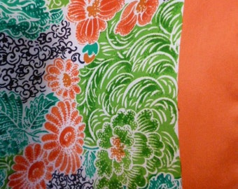ECHO Vintage Silk Scarf, Bright Orange with Floral and Leaves, Hippy, Modern, Black and Salmon Hues, Swirls, Made In Japan, 60s
