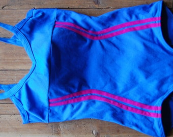 Vintage swim suit, Medium to large bathing suit, One piece swimsuit, Blue swim suit, Wrap swim suit, Low back bathing suit, Full coverage