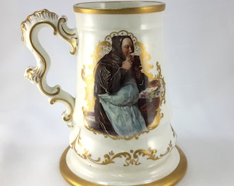 KT and K (Knowles, Taylor & Knowles) Mug, Two Monks, Gold Trim, 1900s