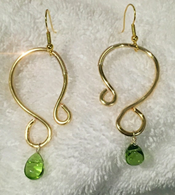 Golden ear wire hoops dangle green drop