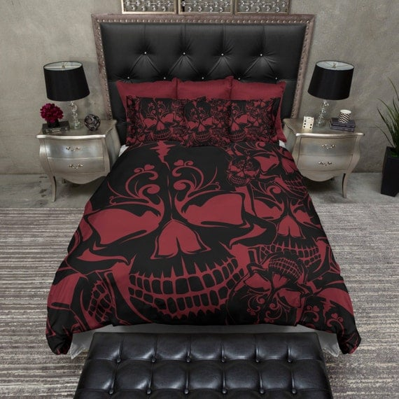 Lightweight Skull Bedding Red Black Collage By Inkandrags