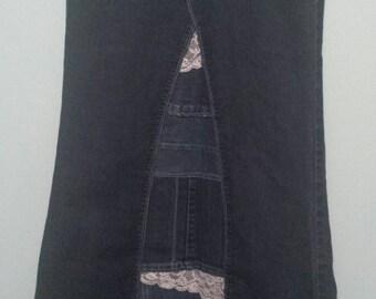 Handmade customized denim/jean skirt with lace