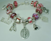 Patron St Rosa of Lima quilter European charm Murano beads bracelet sewing machine pin iron thimble block U pick size Help save a cat/kitten