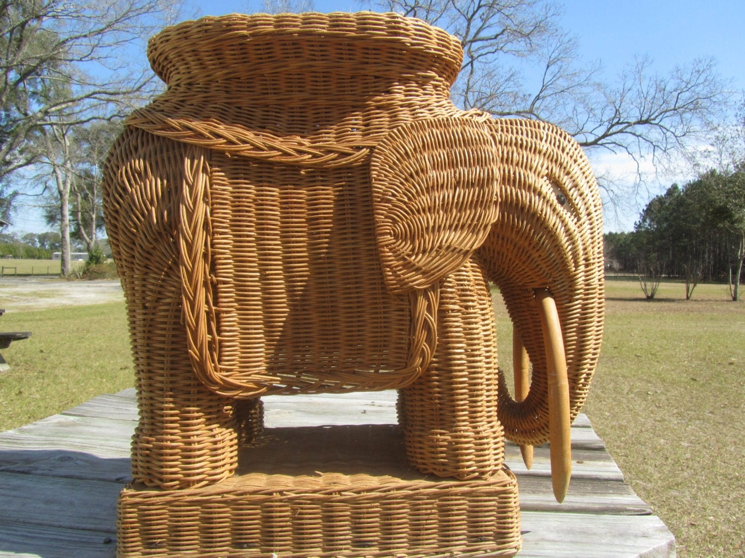 Vintage Wicker Elephant Side Table Plant Stand Mid Century