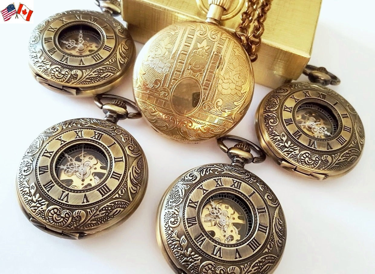 gold pocket watches groomsmen gift mixed set of pocket watches