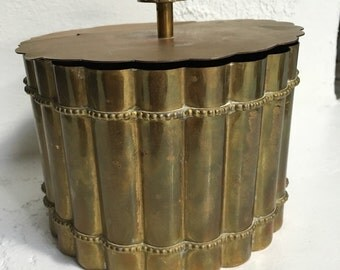 Vintage Mid Century Brass Bamboo Hinged Box Lift Top Stash Trinket Hollywood Regency