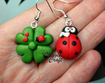 Ladybird / Ladybug and Four Leaves Clover Earrings - Handmade in Polymer Clay