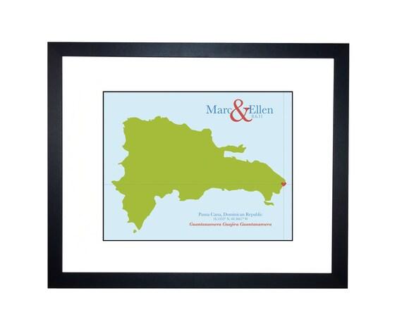 Cotton Wedding Anniversary Gift wedding map - Dominican Republic